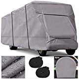 RVMasking Upgraded Windproof & Waterproof Class C RV Cover Camper Cover with 300D Oxford Top Prevent Tearing Caused by Sun Exposure, fits 23'-26'L RVs with 2 Straps, 4 Tire Covers