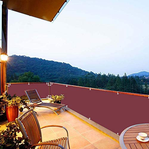 Aiyaoo Paravento per Balconi 110x850cm Windschutz Sonnenschutz Sichtschutz Balkon PVC in div. Größen & Farben für Gartenzaun Balkon Rot