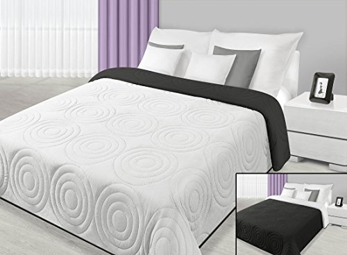 220x240 weiß schwarz Tagesdecke Bettüberwurf Decke Wohndecke zweiseitig hautfreundlich Black White Alisa