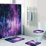 AETTP Fantasía Purple Galaxy Cosmic Space Sky Cortinas de Ducha Juego de Cortinas de baño Nebulosa Alfombras de baño Alfombras Accesorios de bañera Decoración del hogar 180x180cm