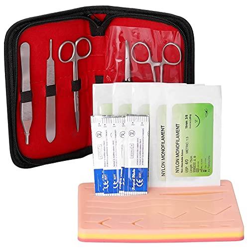 LYWIR Kit De Sutura Quirúrgica para Practicar Herramienta De Entrenamiento De Sutura (Heridas Precortadas+Herramientas De Sutura+Hilo De Sutura) para Entrenamiento De Práctica De Sutura