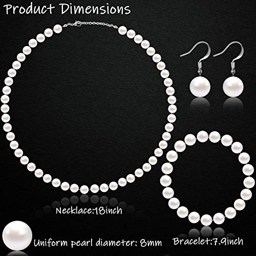 Faux Pearl Jewelry Set Simulated Pearl Necklace Bracelet Earrings for Women Girls (White, 10 mm)