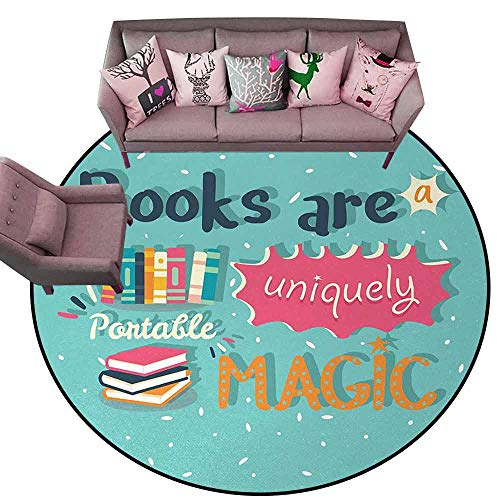Kitchen Mat Book,Books are a Uniquely Portable Magic Inspirational Quotation Print in Pastel Colors,Multicolor Diameter 60' Round Rugs for Sale