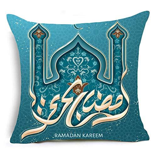 QPOWY Fodera in Cotone Ramadan Cuscino Decorativo Lanterna in Lino Regali Eid Mubarak Decorazioni per la casa Cuscini Copertura per Divano
