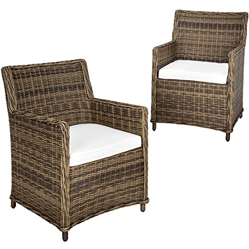 TecTake Juego de 2 sillones de poly ratán aluminio | marrón | + cojines de asiento