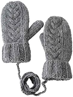 XAZTY Gloves, Solid Color Knit Hanging Neck Thicken Warm Hand-Knitted Fingers Gloves