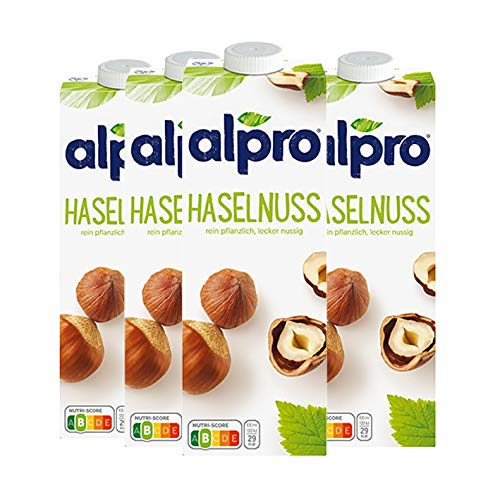 Alpro Soya Drink Haselnuss, 100 % pflanzlich - 1L - 4x