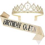CIEHER Birthday Queen Sash & Rhinestone Tiara, Birthday Crowns for Women, Birthday Sash,Tiaras and Crowns for Women(Gold1)