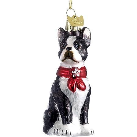 Quality Glass BOSTON TERRIER III Blown Glass Dog Breed Christmas Ornament