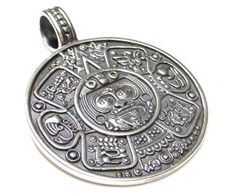 Kettenanhänger Silber, Motivanhänger Maya Kalender, mit Gravur, aus 925 Sterling Silber massiv gearbeitet, Geschenk, Schmuck, Unisex, Schutzsymbol