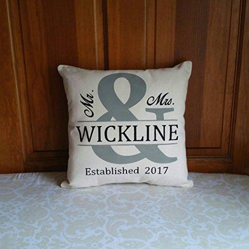 Toll2452 Funda de almohada personalizada para regalo de boda Mr and Mrs