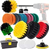 Drill Brush, GOH DODD 23 Pieces Power Scrubber Variety Cleaning Kit with Scrub Pads and Long Reach Attachment in Box for Bathroom Shower Scrubbing, Carpet Cleaning, Grout Scrubbing, and Tile Cleaning