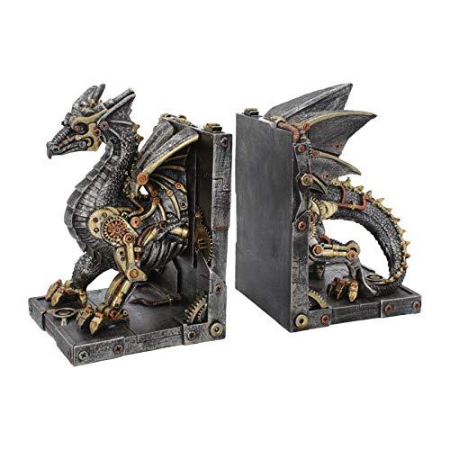 NN Deko Buchstützen Steampunk Drachen Gothic Halloween Fantasy Dragon Drache