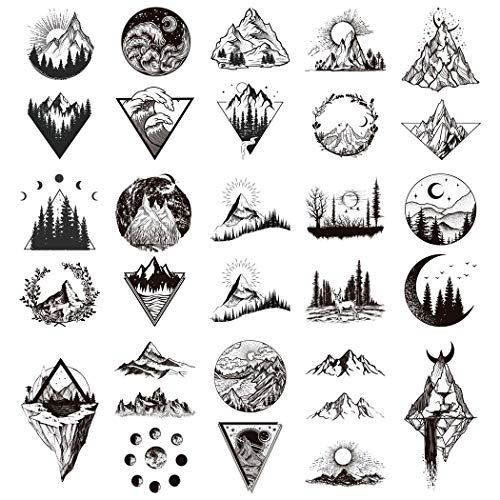 Oottati 15 Pieces Black Small Hand Lot Geometry Round Triangle Mountain Forest Wave Moon Sun Temporary Tattoo