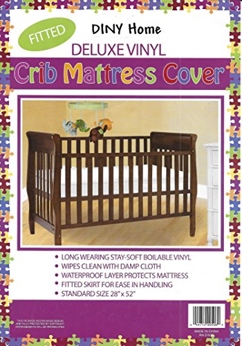 """Deluxe Vinyl Fitted Crib Mattress Cover 28"""" x 52"""" Standard Size Waterproof"""