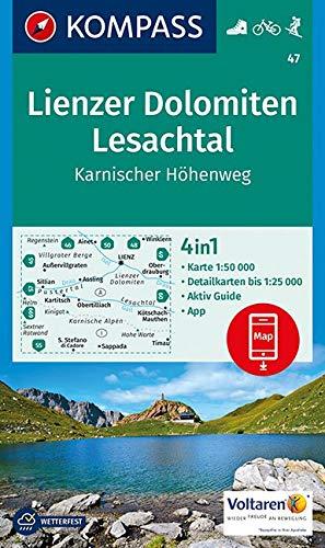 KOMPASS Wanderkarte Lienzer Dolomiten, Lesachtal, Karnischer Höhenweg: 4in1 Wanderkarte 1:50000 mit Aktiv Guide und Detailkarten inklusive Karte zur ... Skitouren. (KOMPASS-Wanderkarten, Band 47)