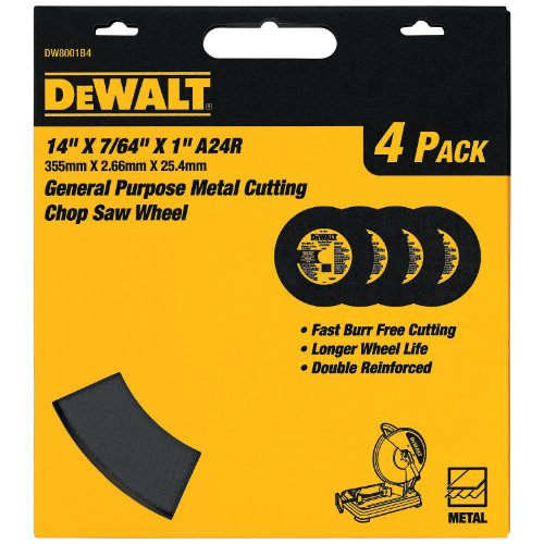 DEWALT Cutting Wheel for Chop Saw, Metal Cutting, 14-Inch (DW8001B4)