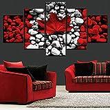 YuanMinglu Lienzo de impresión HD 5 Piezas de Piedra de Arte y Hoja de Arce compuesta de Pintura de Bandera Canadiense Sala de Arte Moderno Pintura sin Marco 40x60cmx2 40x80cmx2 40x100cmx1