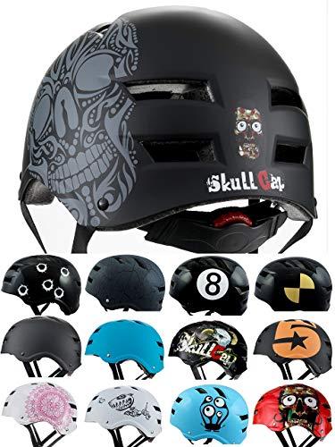 Skullcap BMX Helm - Skaterhelm - Fahrradhelm - Herren Damen Jungs & Kinderhelm, schwarz, Gr. L (58 – 61 cm), Skull