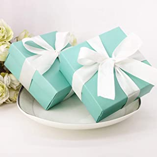 SOMADE Tiffany Blue Candy Boxes Small Square Paper Party Favor Boxes with Ribbons for Holiday Celebration Party Decorations Supplies,Pack of 20