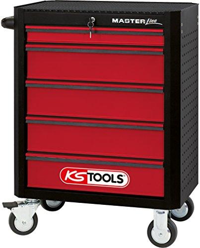 KS Tools 876.0005 MASTERline Werkstattwagen,mit 5 Schubladen schwarz/rot