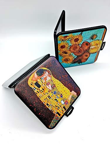 CAJA FUNDA MASCARILLA DISEÑO - Pack de 2 Estuches Diseño, Decoradas famosos Cuadros' El beso' y'Los Girasoles'. Caja almacenaje
