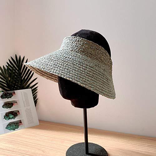 Sombreros De Paja Gorra De Mujer Gorra con Visera para El Sol Gorra De Protección De ala Ancha para Mujer Sombrero De Paja Gorra De Playa Plegable Ajustable-As_Show_Color
