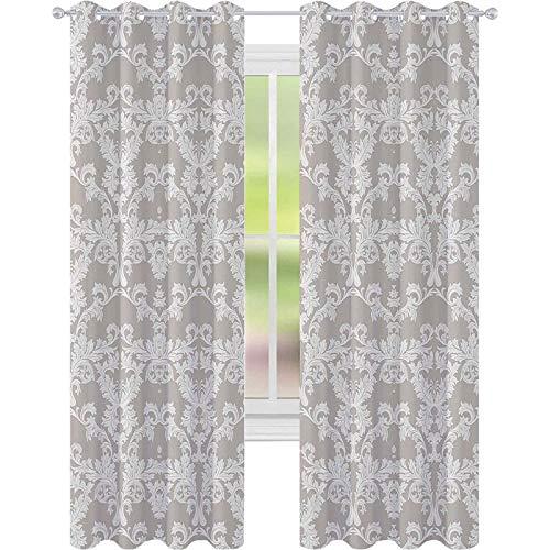 Cortinas de ventana que reducen el ruido, diseño temático de jardín de naturaleza con azulejos imperiales de damasco, inspirado en rococó, para comedor, gris pardo y blanco