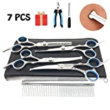 MaoCG Dog Grooming Scissors Set, Safety Round Blunt Tip Grooming Tools, Professional Curved,Thinning,Straight Scissors...