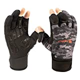 Anglatech Fishing Gloves Waterproof Ice Fishing Cold Weather Fishing Gear Three Or Two Fingers Cut Fly Fishing Ice Fishing Running Touchscreen Texting Gloves Large