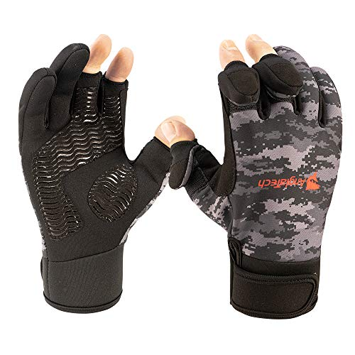 Anglatech Fishing Gloves WaterproofIce Fishing Cold Weather Fishing Gear Three Or Two Fingers Cut Fly Fishing Ice Fishing Running Touchscreen Texting GlovesMedium