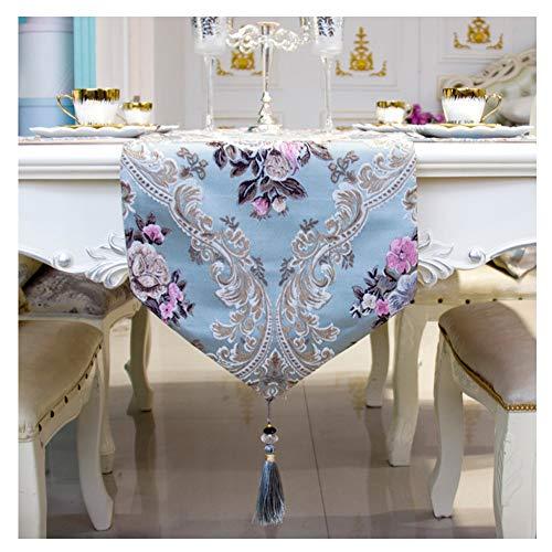 WXIAO tafelloper, rustiek, blauw, machinewasbaar, tafelkleed met kwasten, elegante sjaals, open haard, decoratie dresser