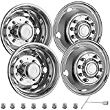 VEVOR Stainless Steel Front And Rear Wheel Simulators 19.5 Inch 10 Lug Wheel Simulator 4PCS of Hand Hole Hubcap Kit Compatible With 2005-2021 Ford Super Duty F450 - F550 10 Lug Dually Trucks Only