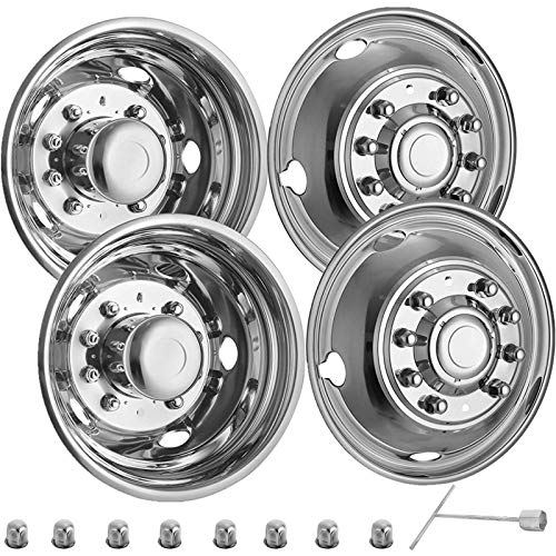 VEVOR Stainless Steel Front And Rear Wheel Simulators 19.5 Inch 10 Lug Wheel Simulator 4PCS of Hand Hole Hubcap Kit Compatible With 2005-2020 Ford Super Duty F450 - F550 10 Lug Dually Trucks Only
