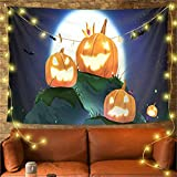 YYRAIN Halloween Tapiz Poliéster Antiincrustante Colgante De Pared Banquete Decoración De Pared Tela Colgante Sala De Estar Dormitorio Imagen Colgante 59x39 Inch{W150xH100cm}