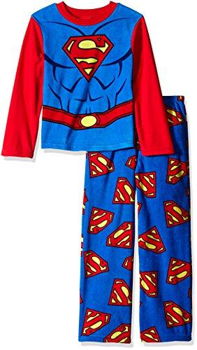 DC Comics Boys' Big Boys' Superman Uniform 2-Piece Fleece Pajama Set,...