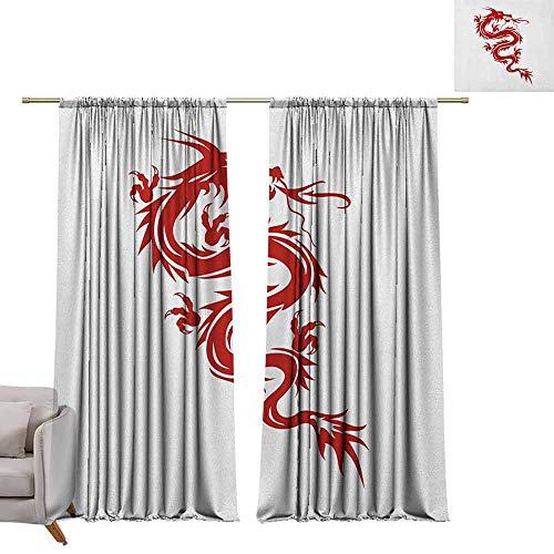 Print patroon Gordijnen voor kamer donkere panelen voor woonkamer slaapkamer Japanse draak, Japanse Mythologie Thema Sierfiguur Rood Silhouette Vurige Karakter Rood Wit