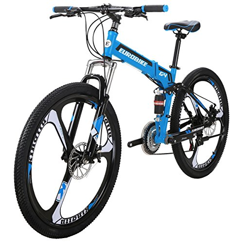 Mountain Bike TSM G4 Bicycle 21 Speed 26 Inches Wheels Dual Suspension Folding Bike Blue