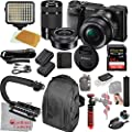 Sony Alpha a6000 Mirrorless Camera with 16-50mm and 55-210mm Lenses, Video Bundle + LED Video Light + Extreme Speed 64GB Memory(20pc Bundle) from Cardinal Camera-Sony