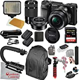 Sony Alpha a6000 Mirrorless Camera with 16-50mm and 55-210mm Lenses, Video Bundle + LED Video Light + Extreme Speed 64GB Memory(20pc Bundle)