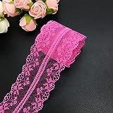 10yds 40 mm de ancho artesanías bilaterales bordadas cinta de ajuste de encaje de red boda / cumpleaños / Navidad / decoraciones de lazo-rosa
