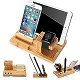 Handy Tablet Holz Organizer Multi Ständer Universal Ladestation für Smartphone, iPhone, iPad,...