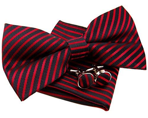 Retreez Herren Gewebte vorgebundene Fliege Heutig Gestreifte 13 cm und Einstecktuch und Manschettenknöpfe im Set, Geschenkset, e - schwarz mit rot gestreifte