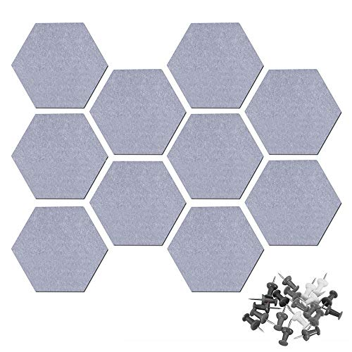 10 mattonelle esagonali in feltro autoadesive, piastrelle in sughero esagonale, per casa e ufficio, adesivi da parete in feltro per decorazione domestica (grigio)