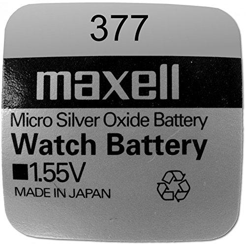 Maxell 19040820 Pila Boton Oxido De Plata 377 / SR626SW, paquete de 10