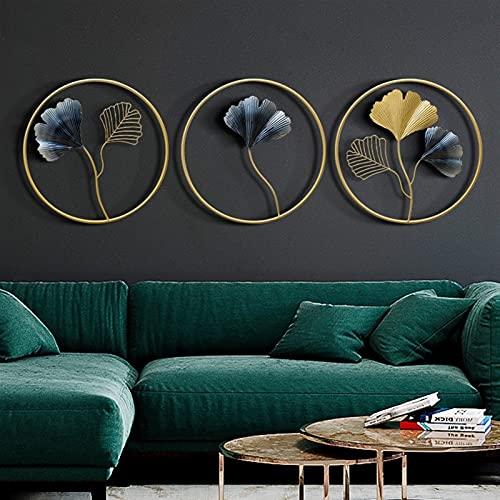 TYUTYU Decoración de la Pared Decoración de la Pared Redonda Moderna Pórchido Colgante Sofá TV Fondo Coloreado Metal Ginkgo Hoja Hogar Decoración (Color : A Set of Three)