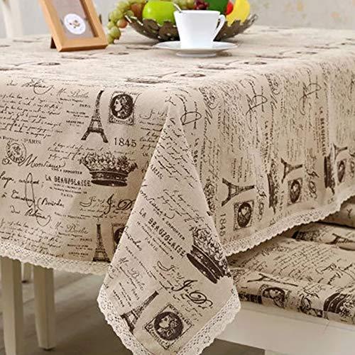 SMILINGGIRL Côté Dentelle Nappe Table Ronde Coton Rectangulaire Et Lin Couverture Résistant Aux Rayures,Beige,140x140