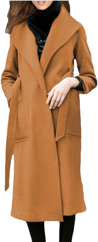 WSPLYSPJY Women Lapel Wool Blend Winter Fall Warm Coat Overcoat