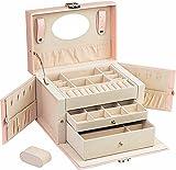 ADEL DREAM Joyero de piel sintética con cerradura para pendientes, collares, con espejo grande y cajones de almacenamiento, color rosa