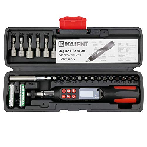 KAIFNT K551 Digital Torque Screwdriver/Wrench Set, 5 to 85 in·lbs, Buzzer/LED Flash Notification, Dual Direction